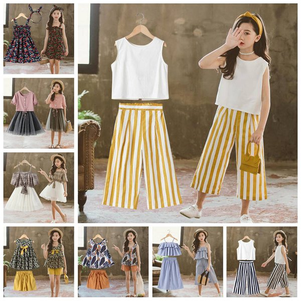 INS Girls Summer Clothing Sets Lovely pattern tops shorts or skirts suit Flower printed Top Stripe pants Grid Skirt Lace dress CLS446