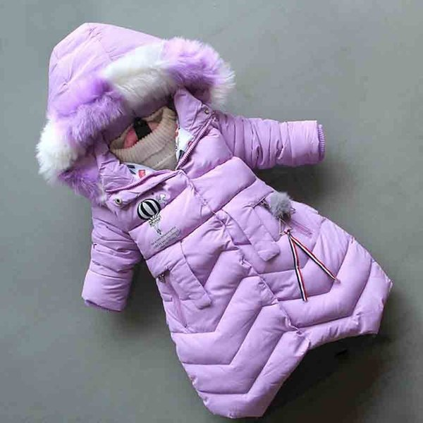good quality 2019 new fashion children winter jacket girl winter coat kids warm thick fur collar hooded long down cotton outerwear