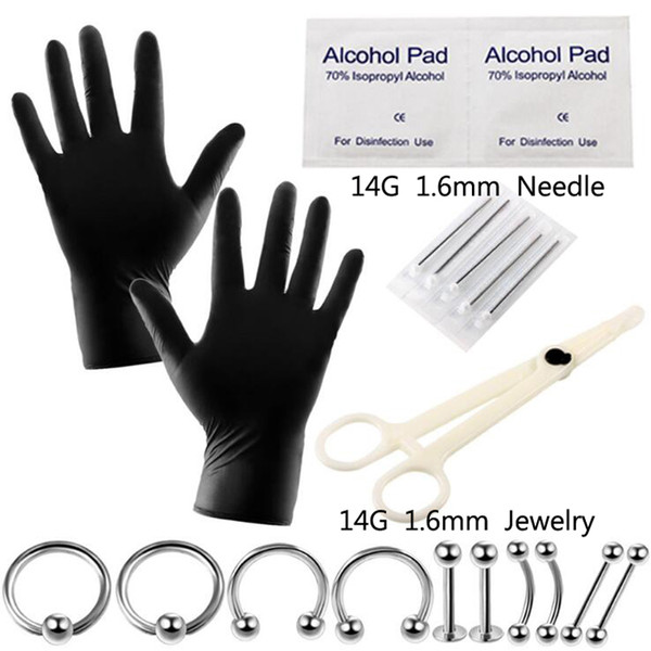 1 Set Disposable Body Piercing Kit Tools Pliers Forceps Needles Accessories Set with Eyebrow Labret Lip Nipple Nose Studs Rings