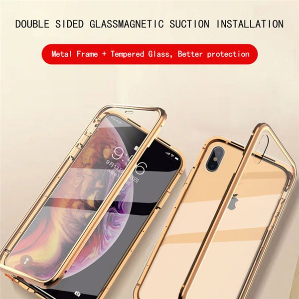 For iPhone 7 8 plus X XS Xr XSmax Metal Frame Bumper AntiScratch Magnetic Flip Polishing Surface Tempered Glass Back Cover Mobile Phone Case