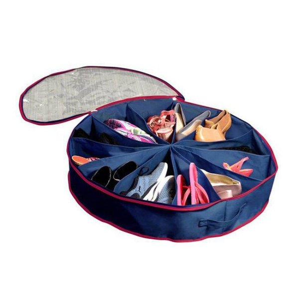 Non Woven Fabrics Storage Bag 12 Grid Dust Proof Pouch Round PVC Transparent Film Cover Shoes Bags Blue 13 5ry p