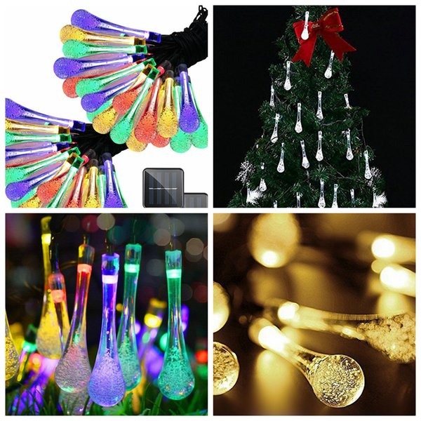 2Modes Christmas String Lanterns Water Drop Shape Reusable Solar Power LED 20lights Christmas tree Light Party Decorative Lamps 5m FFA2700