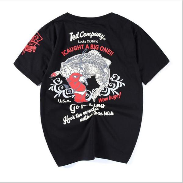 19ss nova tendência de moda AliExpress solto dos homens vestido de verão japonês marca retro maré de pesca diabo dos homens de algodão de manga curta T-shirt