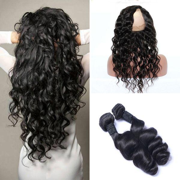 Brazilian virgin hair with clo ure 360 frontal with bundle loo e wave virgin hair pre plucked full 360 human hair bundle, Black