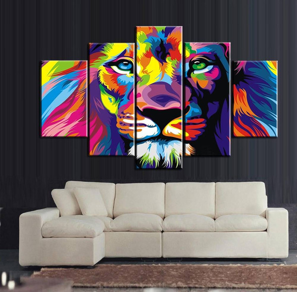 5pcs/set Colourful Lion Wall Art Oil Painting On Canvas (No Frame) Animal Textured Abstract Paintings Picture Living Room Decor