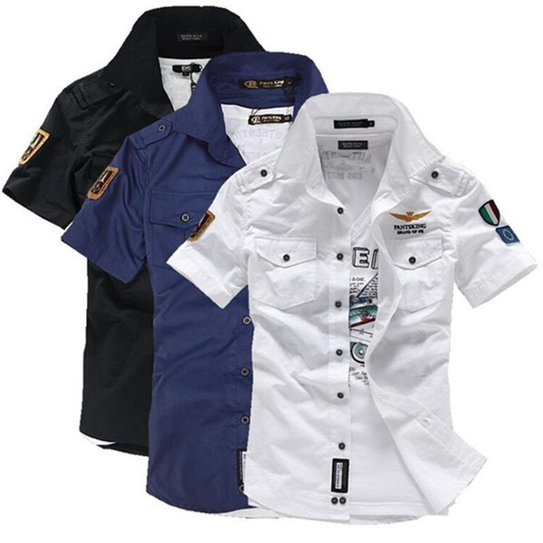 2019 New Fashion Airforce Uniform Military Short Sleeve Shirts Men's Dress Shirt Free Shipping C19040302