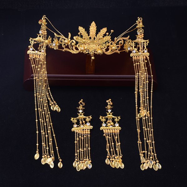 New gold costume bridal headwear Chinese style dragon Phoenix Phoenix crown hair hoop long Tassel wedding accessories
