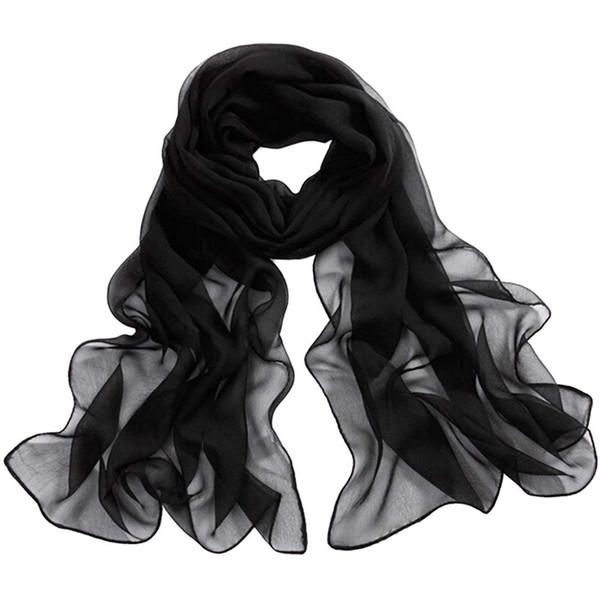 Sciarpe da spiaggia sciarpe lunghe e morbide avvolgenti da donna Sciarpe da spiaggia Sciarpe in chiffon tinta unita Bufanda # 5