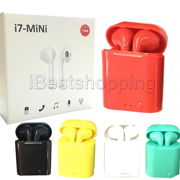 i7 i7S TWS Mini Gemelos Auriculares Bluetooth Inalámbricos Auriculares dobles con cargador Dock Auriculares estéreo para iPhone Xs 8 7 Plus S9 Plus Android