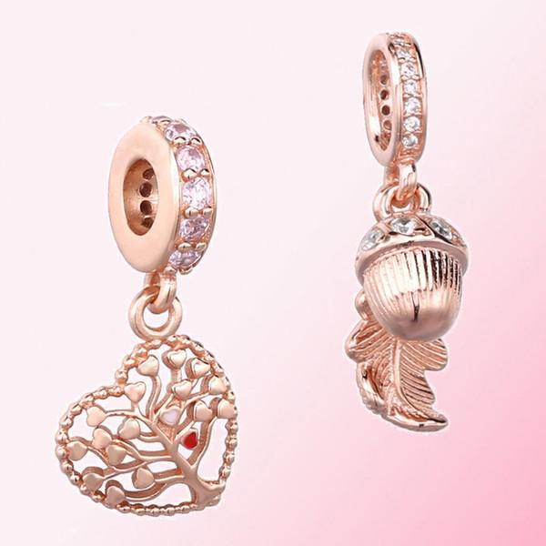 Autunno 2019 100% 925 Silver Rose meraviglie Albero dell'Amore ciondola fascino della Rosa Acorn Leaf ciondolo appeso Charm