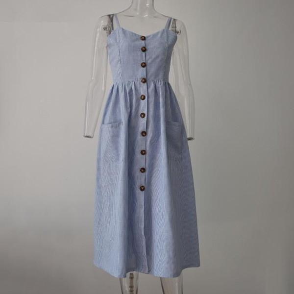 Striped Button Casual Summer Strap Dress Long Boho Beach Pockets Women Sundress Elegant Daily Dress Female