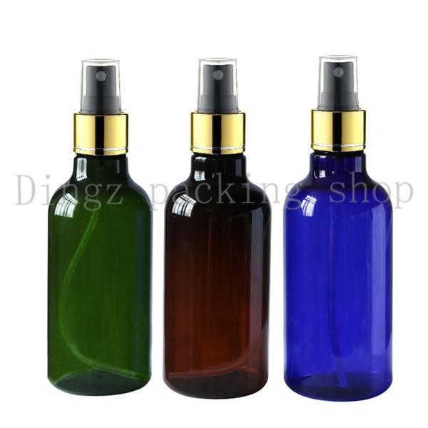 30pcs 250ml grün blau Plastikflasche mit Goldkragen Mist Spray Parfüm-Flaschen leeren, Farbiger kosmetischen Behälters Verpackung
