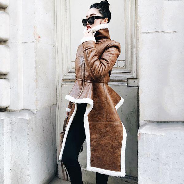 Düzensiz Deri Ceket Plus Size Kış Uzun Sahte Kürk Kadın Kore Moda Giyim Moda Coat