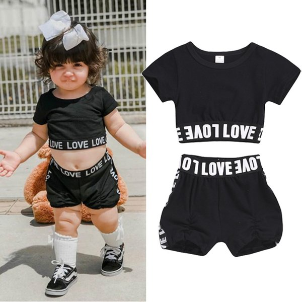 Toddler kids Baby Girl clothes Set Summer Casual Tracksuit Short Sleeve T Shirt Black Shorts children clothing JY288