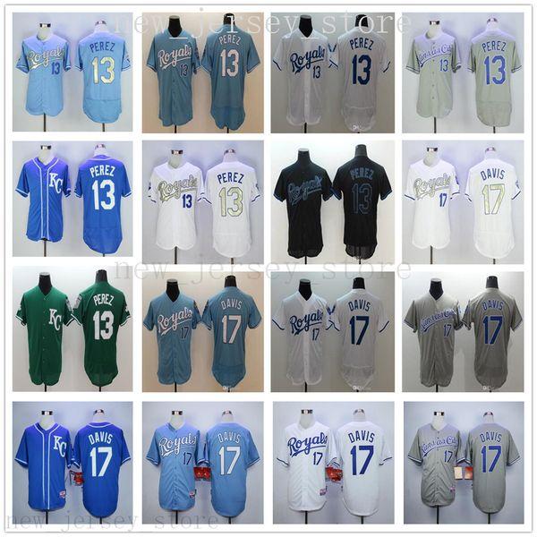 Cheap Wholesale 2019 Royals Mens 13 Salvador Perez 17 Wade Davis maglie di alta qualità bianco blu grigio verde cucita maglie da baseball