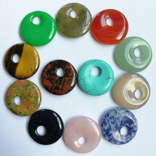 atural stein perlen mode 30mm naturstein perlen gogo donut für schmuck machen halskette anhänger ohrringe donut charme zubehör 12 ...