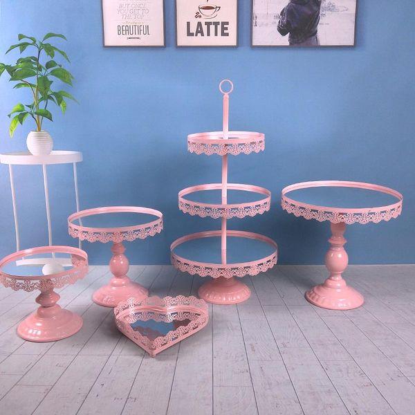 5PCS / Set Mirror Surface Wedding Dessert Tray Cake Stand Wedding Party Birthday Decoration Pan Cake Cookies Display