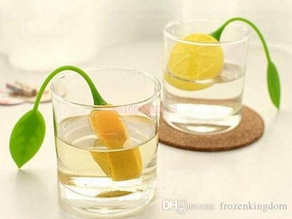 Fedex Dhl-freies Verschiffen Silikon Teebeutel Teesieb Infuser Teekanne Teetasse Filterbeutel Zitrone Stil, 100 teile / los 160404 #