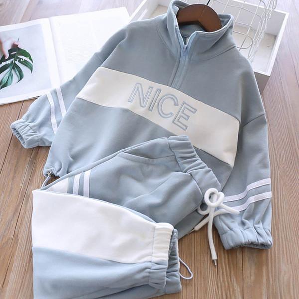 Новый 2019 осень детский спортивный костюм случайные костюмы для девочек детская дизайнерская одежда девушки спортивный костюм майка пальто + брюки тренировочный костюм детская одежда A7449