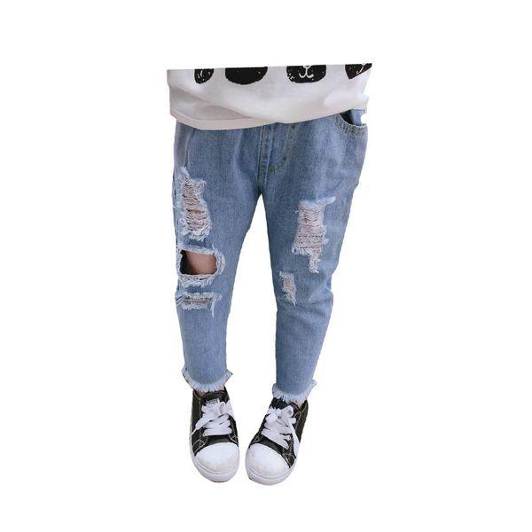 Novo 2019 crianças roupas de verão meninas calças de brim buraco crianças jeans borlas Meninas Calças Criança Calça Casual crianças roupas de grife meninas calças A5510