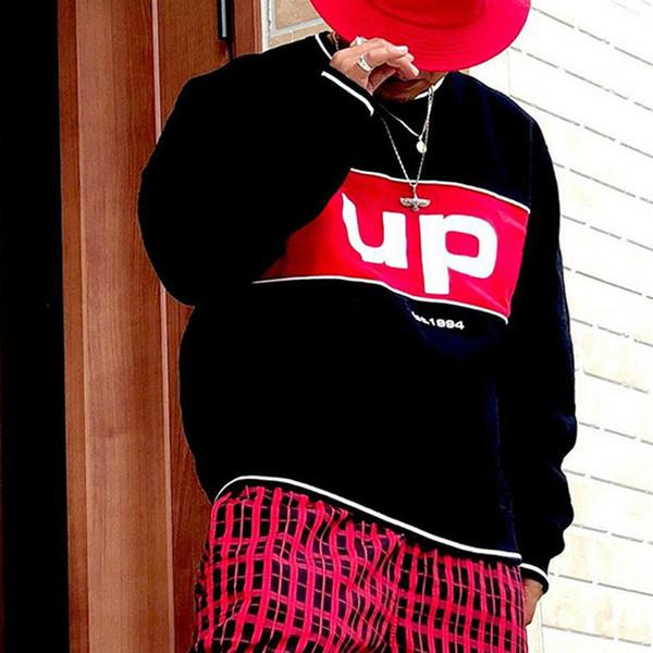 supreme sup 19FW BOX Logo Piping Crewneck Толстовка Мужчины Женщины Пара пуловер прошитой Color Matching свитер Street Outwear новое прибытие