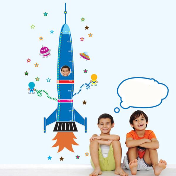 DIY Wall Sticker Durable Growth Chart Nursery Removable Height Measurement Kids Bedroom Rocket Star Cartoon Craft Decoration PVC