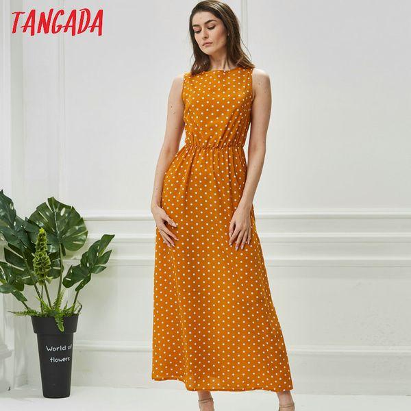 Tangada Summer Women Maxi Dress Lungo stile coreano Polka Dot Dress Vintage Abiti da donna senza maniche Robe Femme Ete 2018 Aon42 Y19052703