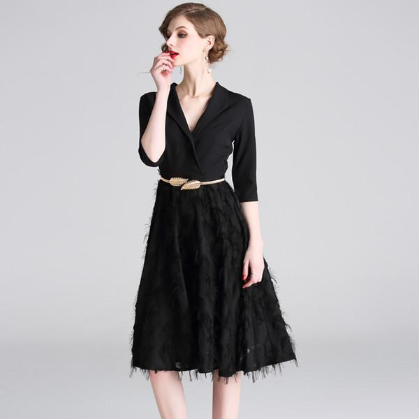 2019 Women Work Dresses Black Half Sleeve V Neck Feather Slash Vintage  Elegant Ladies Fashion Evening Dress Haute Douture Designer Plus Size From  ...
