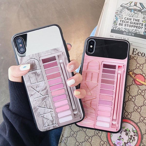 Top Eye Shadow Box Pink Cosmetics Case For IPhone8 8plus Xs Max XR X Back  Cover For Apple Iphone Xs Xr X Case For Iphone Xs Max Leather Phone Cases
