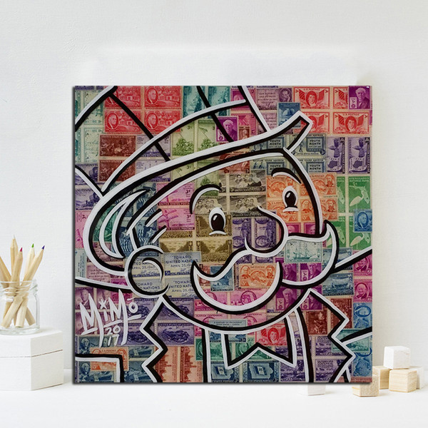 MiMo Mr Monopolyingly Money Stamp Canvas Painting Graffiti Wall Art Street Poster Print HD Picture for Living Room Home Decor