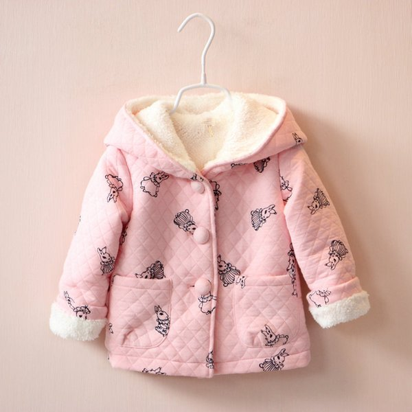 good quality Cute Rabbit Hooded Girls Coat Spring Autumn Winter Warm Kids Jacket Outerwear Children Clothing Baby Tops Girl Coats