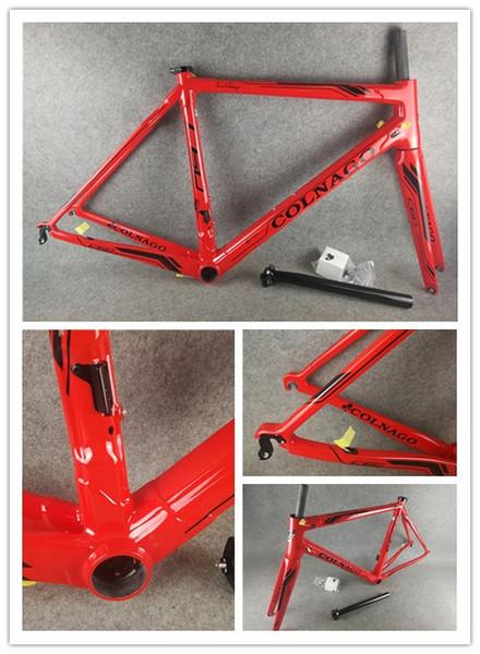 Vermelho Colnago C60 Quadro de Estrada em Carbono 100% T1000 Conjunto completo de quadros de bicicleta de estrada em fibra de carbono