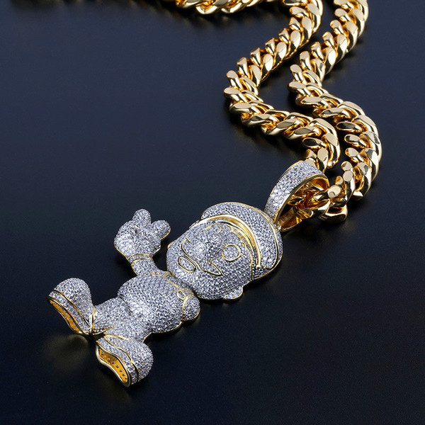 Men Hip Hop Jewellery 2018 New Fashion Ice Out Gold Necklace Super Mario Pendant Brand Designer Women Jewelry Hiphop Link Necklaces