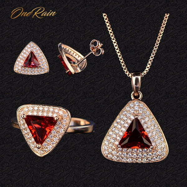 OneRain Vintage 100% 925 Sterling Silver Ruby Gemstone Rose Gold Plated Earrings Studs Ring Necklace Jewelry Sets Wholesale