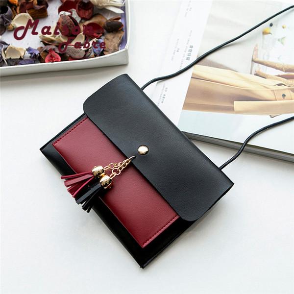 Cheap Fashion GGHB@Women Fashion Double Deck Cover Tassels Crossbody Bag Shoulder Bag Phone Bag