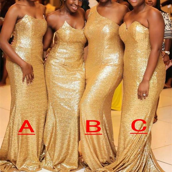 Africano Nigeriano 2019 Sereia Da Dama De Honra Vestidos de Champanhe Barato Lantejoulas Longo Convidado Do Casamento Vestido Formal Maid of Honor Vestidos Vestidos de Baile