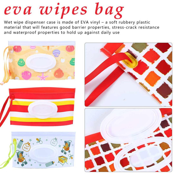 Refillable Portable Reusable Wet Wipes Bag Clamshell Cosmetic Pouch Clutch and Clean Easy-carry Wipes Container Tissue Boxes