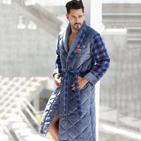 Europe Winter Flannel Super Thick Male Bathrobe Mens Soft Warm Long Home Sleepwear Robe Three Floors Folder Cotton Dressing Gown