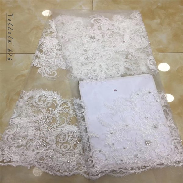 2019 New Style French Beads Net Lace Fabric Beautiful Embroidery African Tulle Mesh Lace Fabric High Quality For Wedding Dress
