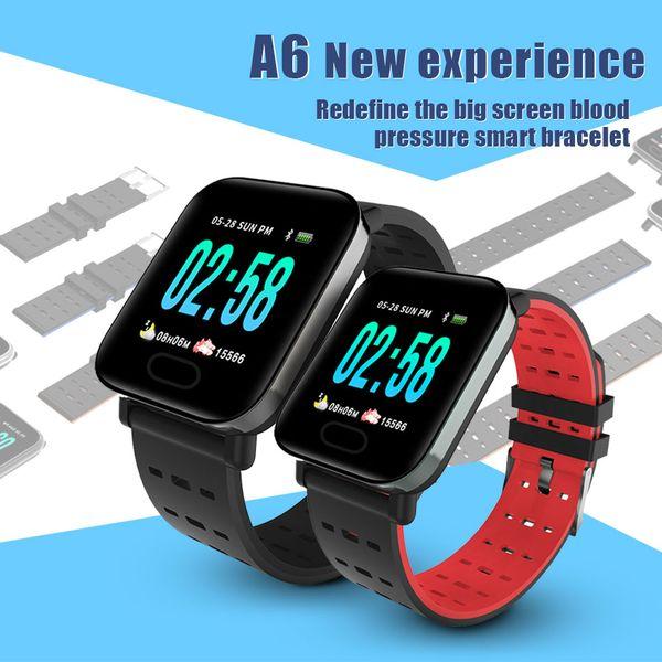 A6 Sport Smart Band Blood Pressure Smart Bracelet Heart Rate Monitor Fitness Tracker IP67 Waterproof Smart Wristband Watch