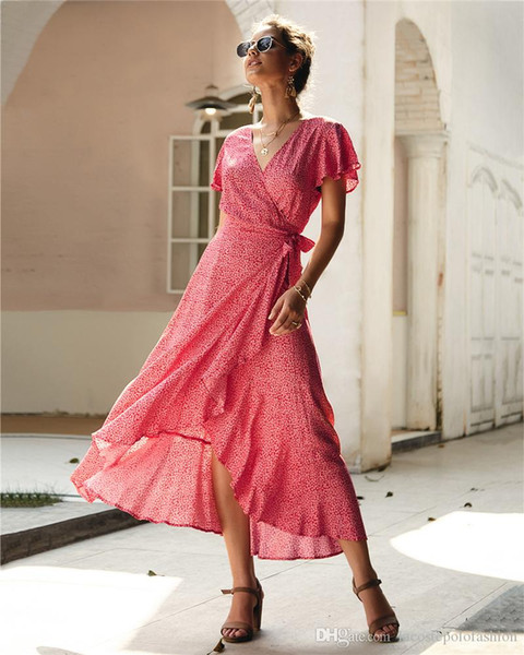 split flora printed dress with belt bow women casual dress fashion v neck women dresses