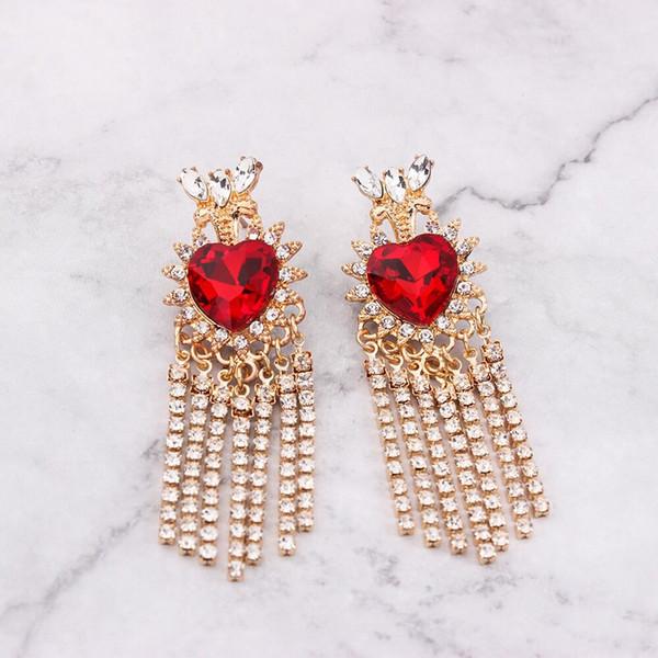 Europe et les États-Unis nouvelle boutique de mode créatrice personnalité de conception créative alliage le gland est serti de diamants colorés longues boucles d'oreilles