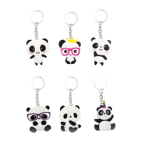 6pcs porte-clés panda en forme de sac à main en PVC porte-clés porte-clés suspendu ornement pour garçons enfants filles