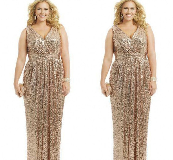2019 Sexy Plus Size Dresses Rose Gold Sequin Sheath V-Neck Floor Length Evening Gowns Formal Mother of the Bride Prom Dress Custom