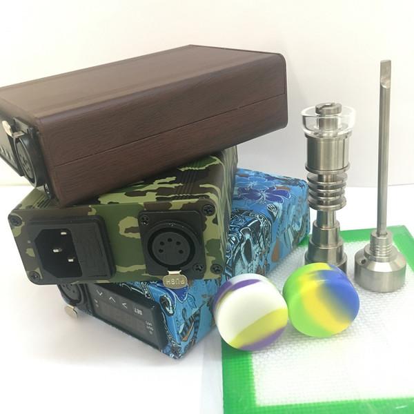 Portable dab rig E nail ENail Quartz Titanium nail carb cap electric dab nail PID digital control dabber box for water glass banger