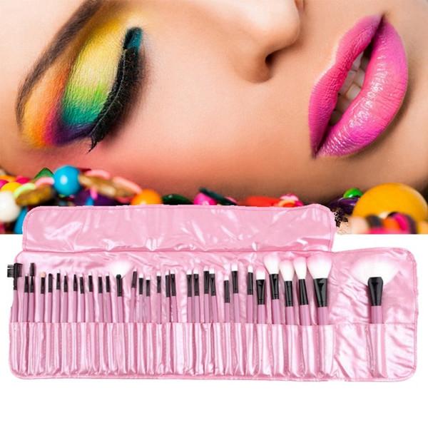 32pcs professionnel pinceaux de maquillage bois noir argenté Mini Set pinceau cosmétique avec sac eyeliner fard à paupières brosse outils de maquillage HHA359