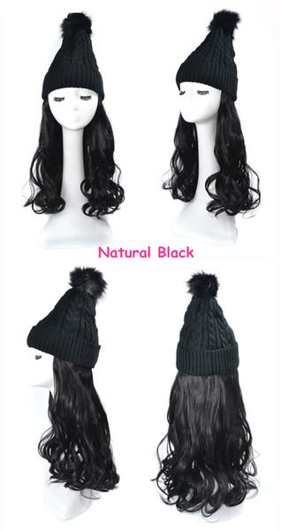 natual pelo de la onda peluca negro negro