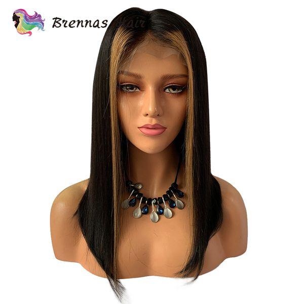 Ombre Straight Short Bob Lace Front Wig # 27 Honey Blonde Highlight Con Color Negro Natural Pelucas de Cabello Humano Para Mujeres Negras Y190713