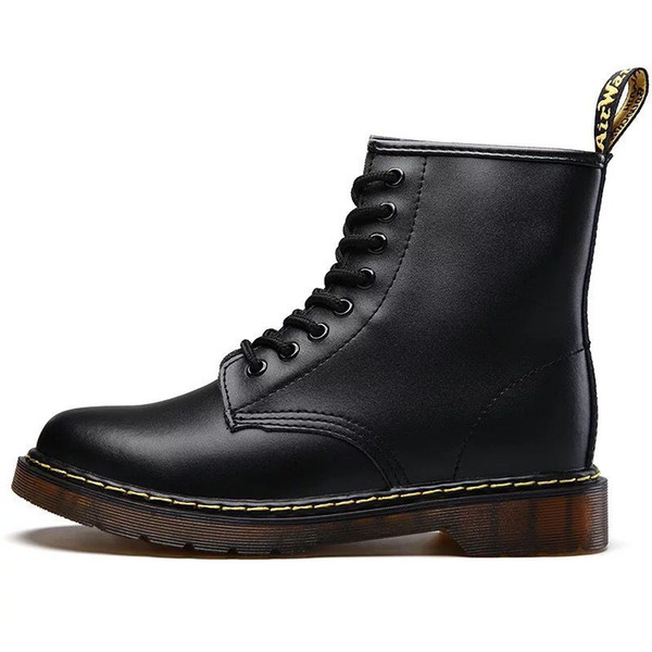 Hot Brand Men's Boots Martens Leather Winter Warm Shoes Motorcycle Mens Ankle Boot Doc Martins Fur Men Oxfords Shoes