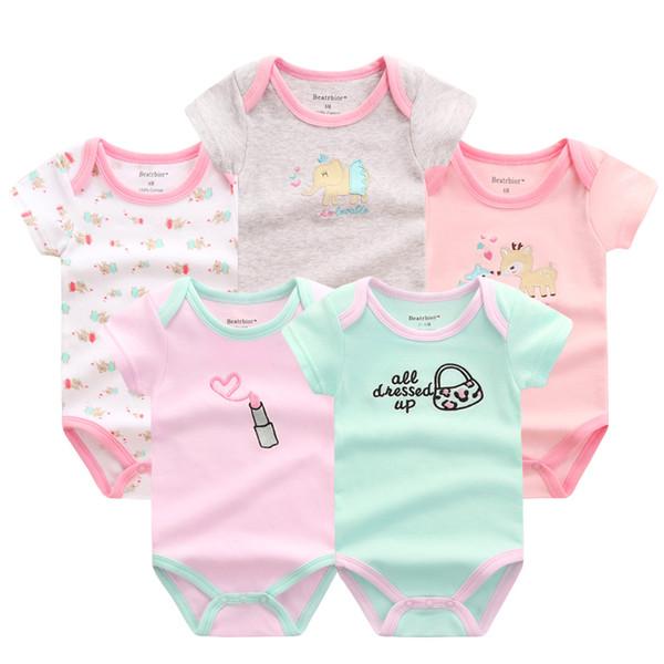 efced1678 5 Unids / lote Mamelucos Del Bebé Conjunto de Ropa de Bebé de Verano  Mameluco de
